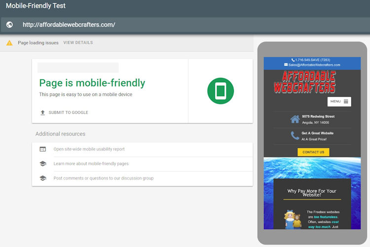 Affordable Webcrafters Mobile-Friendly Test